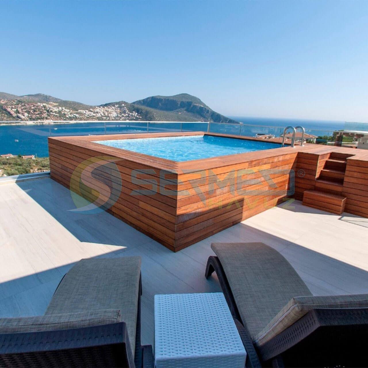 İzmir Fipool Zeminüstü Teras Panel Havuz Sermed Havuz Firması tarafından yapıldı.